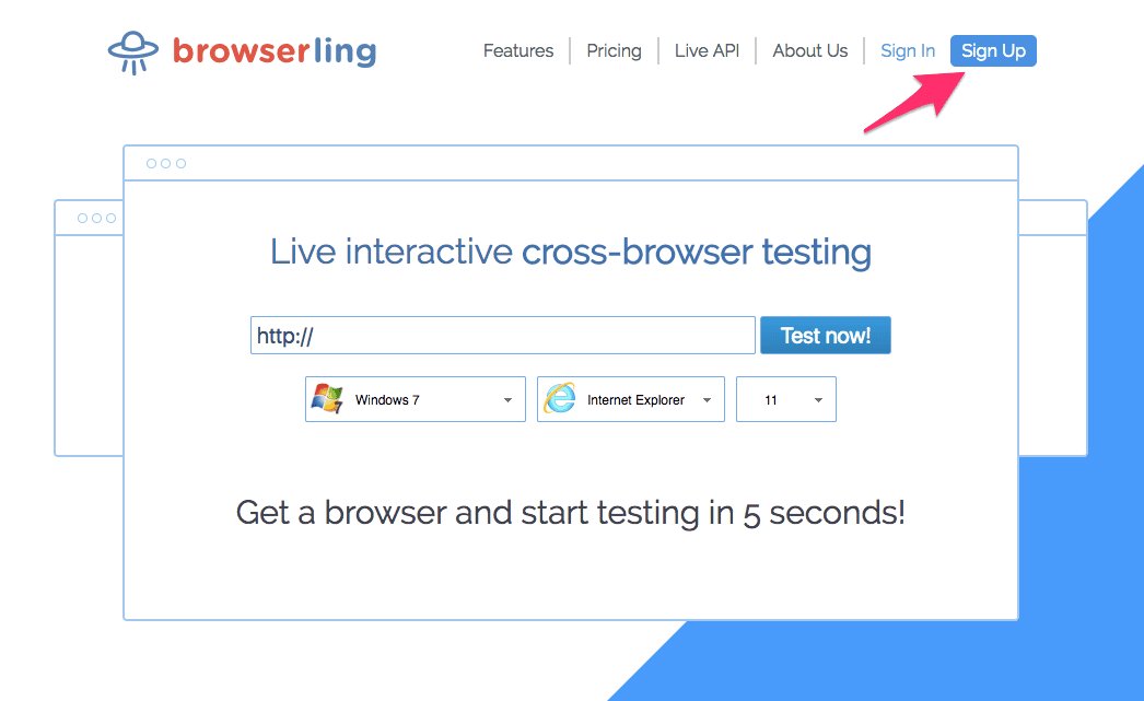 Sign-up to browserling